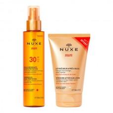 Nuxe Sun Óleo Solar FPS30 para Rosto e Corpo 150ml oferta  Nuxe Sun Loção Pós Sol para Rosto e Corpo 100 ml