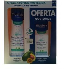 Mustela Bebé Pele Atópica Stelatopia Balsamo Emoliente 300 ml + oferta de Creme Emoliente para o Rosto 40 ml