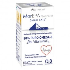 MorEPA Platinum Smart Fats 90% puro Ómega-3 Plus Vitamina D3- 30 cápsulas